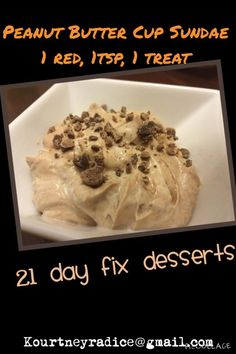Chocolate Peanut Butter Cup Frozen Yogurt Instructions: 1. Melt 1 tsp chocolate chips with 1 tsp peanut butter. 2. Mix melted peanut butter and chocolate chips with 1 red of plain Greek yogurt. 3. Put in freezer for 10-15 minutes and enjoy. It should not be frozen, just chilled.