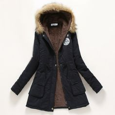 Winter Women Coat 2016 New Parka Casual Outwear Military Hooded Thickening Cotton Coat Winter Jacket Fur Coats Women Clothes D21