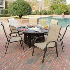 madison bay 7 piece sling patio dining set with fire pit table by lakeview outdoor designs ultimate patio