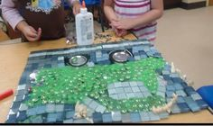 """Glass nuggets, tin cans & mosaic pieces ("""",)"""