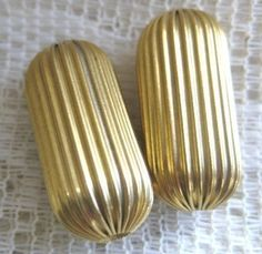 6 Large Vintage Brass Corrugated Oblong Beads   by StarPower99, $5.80