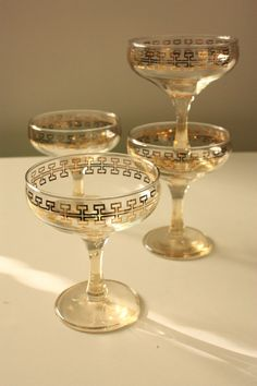 Vintage Champagne Glasses  Gold key pattern by TriBecasVintage, $16.95