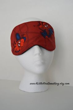 Reserved - Travel/Sleep/Eye Mask ~ Quality Handcrafted & Light Blocking in a Red Spider Man Printed Fabric ~ READY TO SHIP