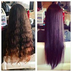 Black violet hair, long hair, permanent color by me purple hair