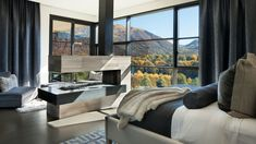 Elegant and Cozy Home with Views of the Colorado Rocky Mountains Living Room Decor Furniture, Modern Bedroom, Master Bedroom Design, Bedroom Design, Contemporary House, Cozy House, Hillside House, Interior Design, Contemporary Living