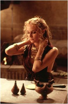 Diane Kruger in Troy (2004); Costume designed by Bob Ringwood based on the fashion followed by women in ancient Greece.