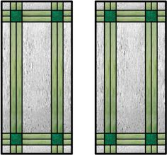 The double Inner intersecting border is a very interesting design that almost reminds one of a plaid pattern.    The impact of this design can be dramatically altered just by the choice of colored or textured glasses.    The lead came can help to accent your kitchen cabinet hardware.