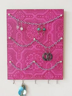 Jewelry Organizer Necklace Earring Hanger Wall by colorsvintage, $22.00