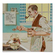Coffee, Mid-Century Man, Retro, Vintage Poster