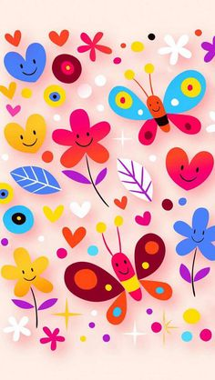 Home Decor Colorful Cartoon Butterfly with Flowers Zippered Throw Pillow Pink Wallpaper, Flower Wallpaper, Screen Wallpaper, Pattern Wallpaper, Wallpaper Backgrounds, Cellphone Wallpaper, Iphone Wallpaper, Cartoon Butterfly, Wallpaper Downloads