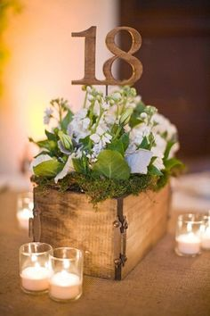 Rustic wooden box wedding table centrepiece