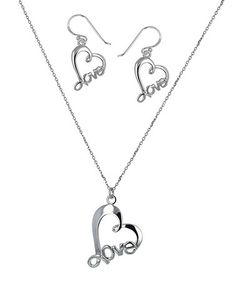 Look what I found on #zulily! Sterling Silver Love-in-Heart Pendant Necklace & Drop Earrings #zulilyfinds