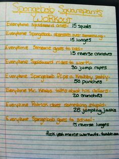 So doing this with my monkeys Movie workouts - spongebob