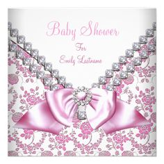 Shop Pink Girl Baby Shower Diamonds Bow Image Invitation created by Zizzago. Custom Invitations, Baby Shower Invitations, Invitation Cards, Bow Image, Diamond Bows, Baby Gadgets, Cute Pink, Little Princess, Pink Girl