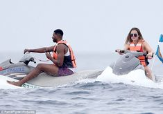 Staying close: While they hired their own jet skis, Khloe and Tristan were never far apart