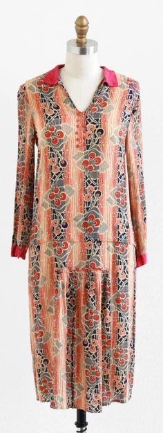Art Deco Dress: ca. 1920's, custom made, cherry printed crepe, silk cuffs and collar.