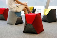 Beanbag Stools Filled with Recycled Bottle - Design Milk.  The covers are made from 100% recycled polyester.