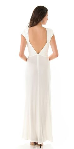 This gorgeous ShopBop cap sleeve backless white gown is now 70% off! This could make a great wedding gown.