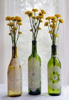 10 Ideas para Decorar Botellas y Frascos de Vidrio Reciclados con Blondas, II Parte