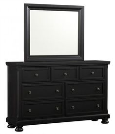 Reflect Black Dresser & Mirror  $947.77 Sku:128919 Dimensions:65Wx19Dx79H The Reflect Collection maintains an air of regal splendor and classic luxury. Meticulous craftsmanship exudes every piece with a Made in USA spirit and attitude. Retreat and relax in your calm surroundings every night while you enjoy the character and warmth of your USA made bedroom suite. Please visit our website for warranty and benefits.