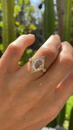 Vintage inspired engagement ring Art Deco Diamond, Oval Diamond, Rose Cut Diamond, Vintage Diamond, Diamond Shapes, Vintage Rings, Vintage Inspired Engagement Rings, Halo Engagement Rings, Diamond Wedding Bands