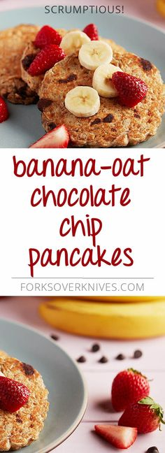 The combination of bananas and chocolate chips makes these healthy pancakes taste decadent enough to serve for dessert. Top with your favorite fresh fruit.