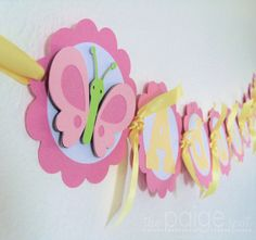Butterfly Banner - (pink, white, yellow, lime green) - room decoration, birthday party, baby shower - Bella the Butterfly Collection. $12.00, via Etsy.