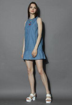 Flare Hem Denim Dress - New Arrivals - Retro, Indie and Unique Fashion