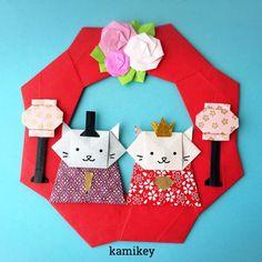 折り紙でひなまつりのリース飾り