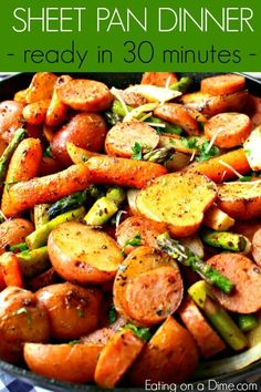 Oven Roasted Potatoes & Sausage Sheet Pan Dinner – Easy Dinner Idea Do you need a simple dinner idea? Oven Roasted Potatoes & Sausage Sheet Pan Dinner is a complete meal in one pan. Clean up is easy and the meal is so tasty. Sausage Recipes For Dinner, Healthy Dinner Recipes, Cooking Recipes, Healthy Deserts, Flour Recipes, Chicken Sausage Recipes, Meatless Recipes, Dip Recipes, Pork Recipes
