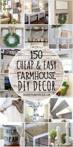 Get the country look on a budget with these cheap and easy DIY farmhouse decor ideas. There are DIY home decor ideas for your bedroom, bathroom, kitchen, and living room to choose from. decor bathroom 150 Cheap and Easy DIY Farmhouse Decor Ideas Country Farmhouse Decor, Farmhouse Kitchen Decor, Farmhouse Ideas, Farm Kitchen Ideas, Country Kitchens, Farmhouse Style, Easy Home Decor, Cheap Home Decor, Diy Home Decor On A Budget Living Room