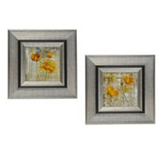 Yellow Gray Poppies Framed Art Print