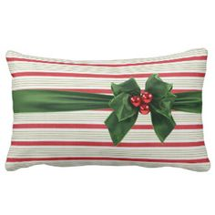 Christmas bow with stripey background lumbar pillow