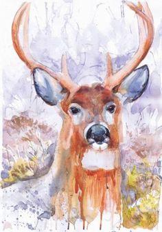 Deer, painting , watercolor , art print, A4