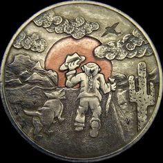 TIM WOLF HOBO DOLLAR - SEE YA - 1972 IKE DOLLAR REVERSE CARVING Hobo Nickel, Coin Art, Precious Metals, Sculpture Art, Cali, Buffalo, Native American, Stamps, Coins