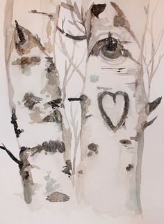 Valentines Day Forest Watercolor Print Winter by CreatedByStorm, $45.00