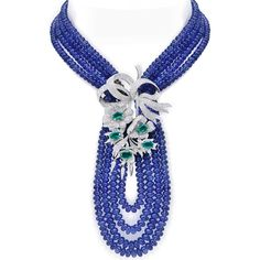 Masterpiece by Farah Khan ~ Tanzanite necklace with diamonds and emeralds in white gold