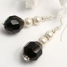 White and Black Earrings, Swarovski pearls, Czech glass, Silver Hooks | PrettyGonzo - Jewelry on ArtFire