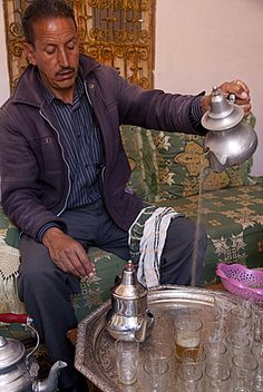 Making mint tea at Mohamed Attai Village in the Atlas Mountains, Morocco, North…