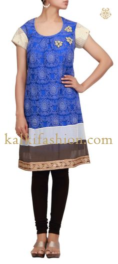 Buy it now http://www.kalkifashion.com/kurti-in-blue-net-with-french-knot-embroidery.html Kurti in blue net with french knot embroidery