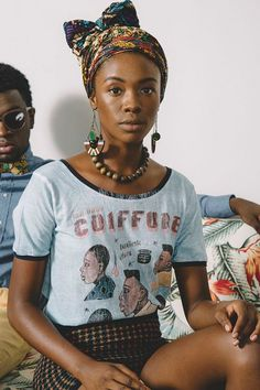 model in vintage t-shirt and patterned headscarf tied in a bow / sfgirlbybay