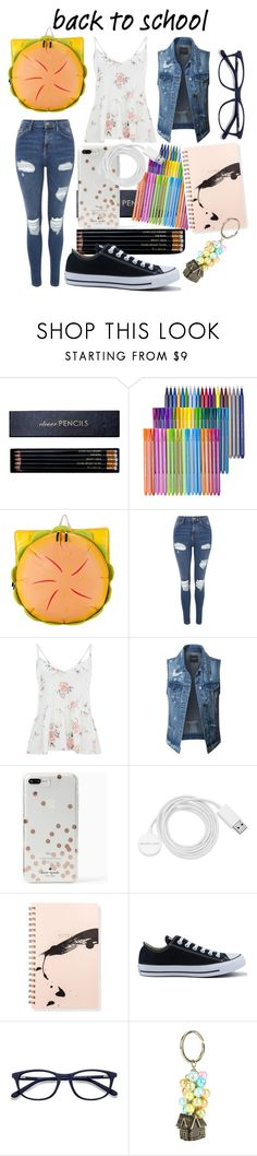 """""""Back to School ugh don't remind me"""" by peridot11871 ❤ liked on Polyvore featuring Sloane Stationery, Cartoon Network, Topshop, LE3NO, Kate Spade, Michael Kors, Fringe, Converse, EyeBuyDirect.com and Disney"""