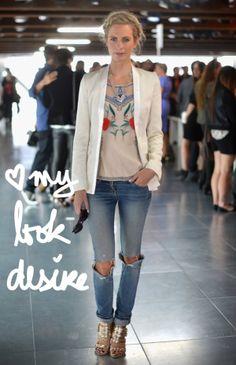 look com calça jeans rasgada