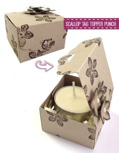 Scallop Tag Topper Punch, by Stampin' Up! This is for a tealight as a gift. But you can use this small box for any tiny gift. Candies, necklace, earrings, bracelet, etc.