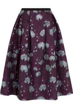 ERDEM Imari Metallic Floral-Jacquard Midi Skirt. #erdem #cloth #skirts