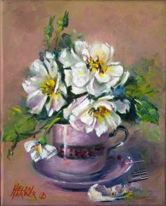 Oil painting by Helen Harper Helen Harper, Oil Paintings, Tea Party, Tea Cups, Heaven, Pottery, Art, Ceramica, Sky