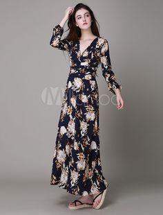 Vestido largo de brocado con cuello en V con estampado con manga larga estilo bohemio
