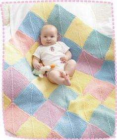 Perfect for bubbly little ones, this Baby Giggles Afghan is the quintessential baby blanket knit pattern: it& colorful, cozy and easy to make. Made with 36 knit motif patterns, this blanket blends five creamy pastels into one finished piece. Knitted Afghans, Knitted Baby Blankets, Baby Afghans, Blanket Yarn, Afghan Crochet, Baby Knitting Patterns, Baby Patterns, Free Knitting, Blanket Patterns