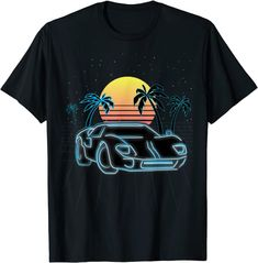 Amazon.com: Retro race car sunset in synthwave outrun style T-Shirt: Clothing Amazon T Shirt, Amazon Merch, Skate Street, Retro, Branded T Shirts, Funny Tshirts, Race Cars, Pop Art, Fashion Brands