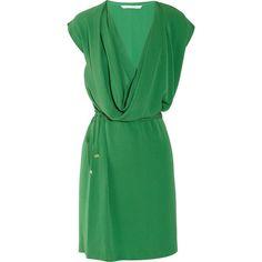 Diane von Furstenberg New Reara draped silk-crepe dress ($280) ❤ liked on Polyvore featuring dresses, green, vestidos, draped dress, elastic waist dress, diane von furstenberg, green celtic dress and green dress